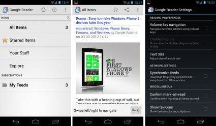 Google Reader App für Android Smartphones & Tablets
