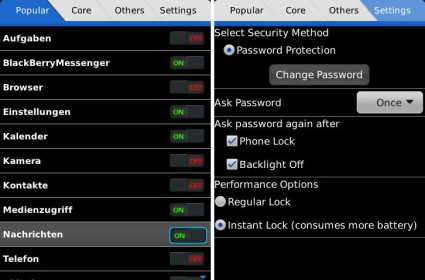 Lock for Apps - Security Essentials für BlackBerry Smartphones