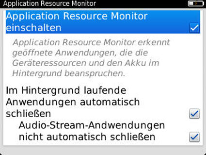 Application Resource Monitor für BlackBerry OS 7.1 Smartphones