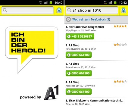 HEROLD mobile by A1 für Android-Smartphones