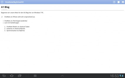 Notiz in OneNote mobile am Android Tablet