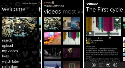Vimeo Player-App für Windows Phones