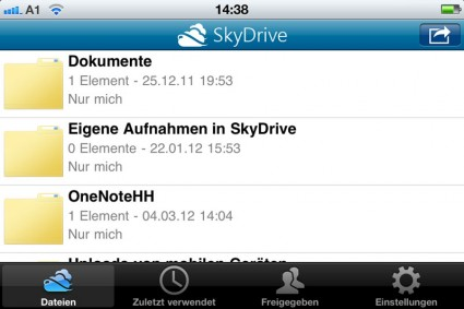 SkyDrive App - für iPhone und Windows Phone7