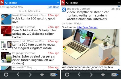 BeReader - Google Reader App für BlackBerry