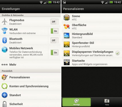 HTC One S - Screenshots von Android Ice Cream Sandwich