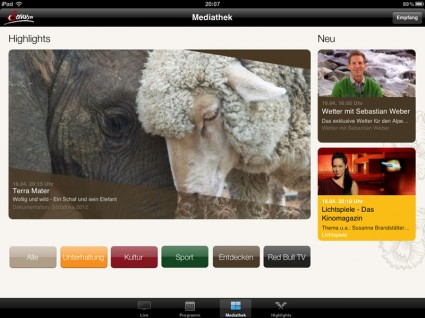 Servus TV App am iPad