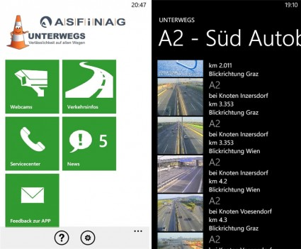 ASFINAG Unterwegs App für Windows Phones