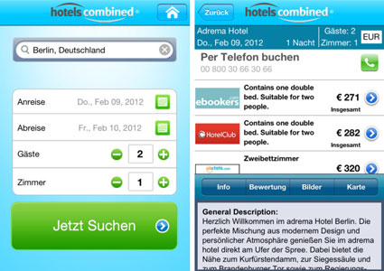 "Hotels Combined ""I find Hotels"" App für Smartphones"