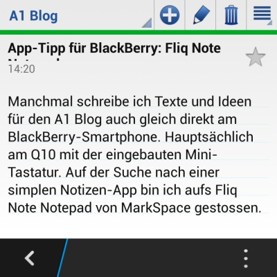 Fliq Notes Notepad App für BlackBerry-Smartphones
