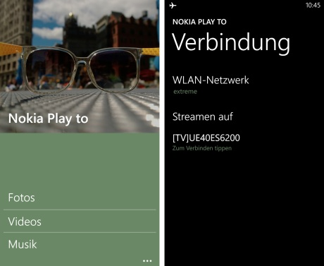 Nokia Play to dlna-Streaming-App für Lumia Windows Phone 8 Smartphones