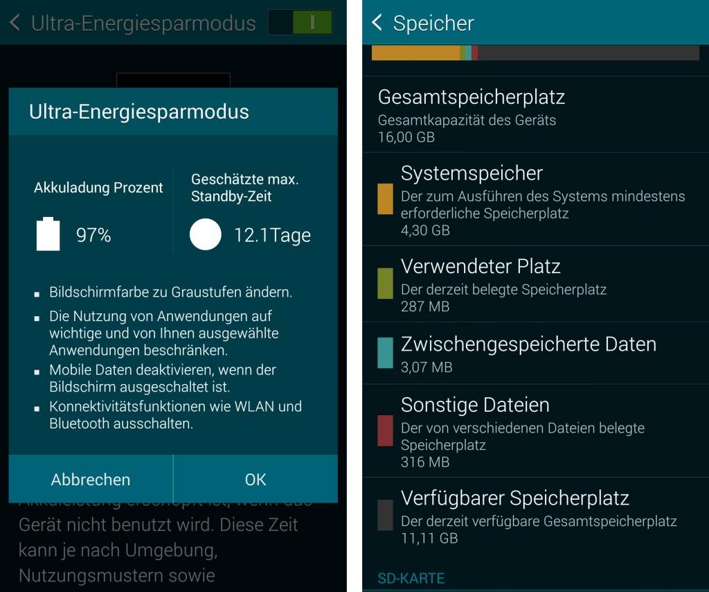 Samsung Galaxy S5 Android-Smartphone Ultra-Energiesparmodus