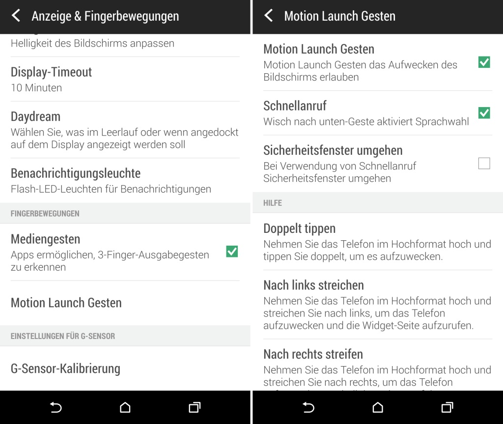 Motion Launch Gesten - HTC One M8 Android Smartphone