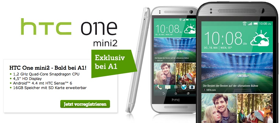 HTC One mini 2 Android-Smartphone bei A1 vorrgestrieren
