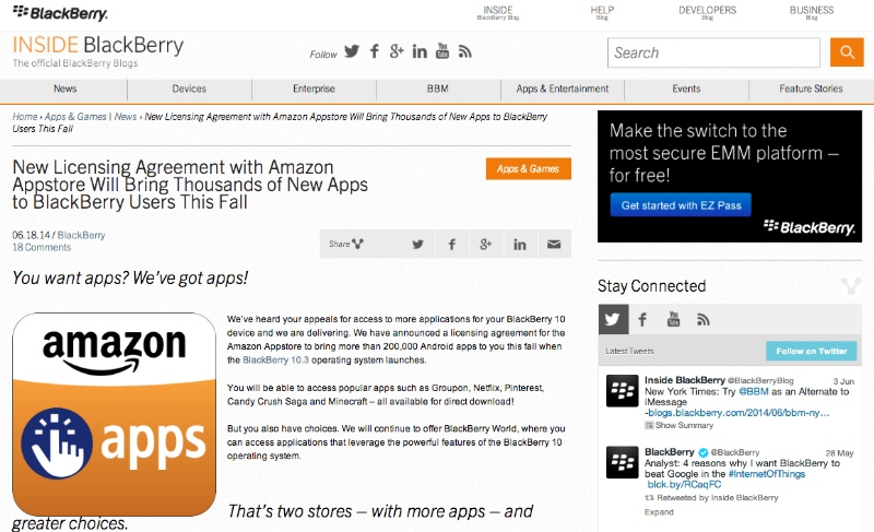 BlackBerry 10.3 bekommt Android-Apps von Amazon - Foto © Inside BlackBerry