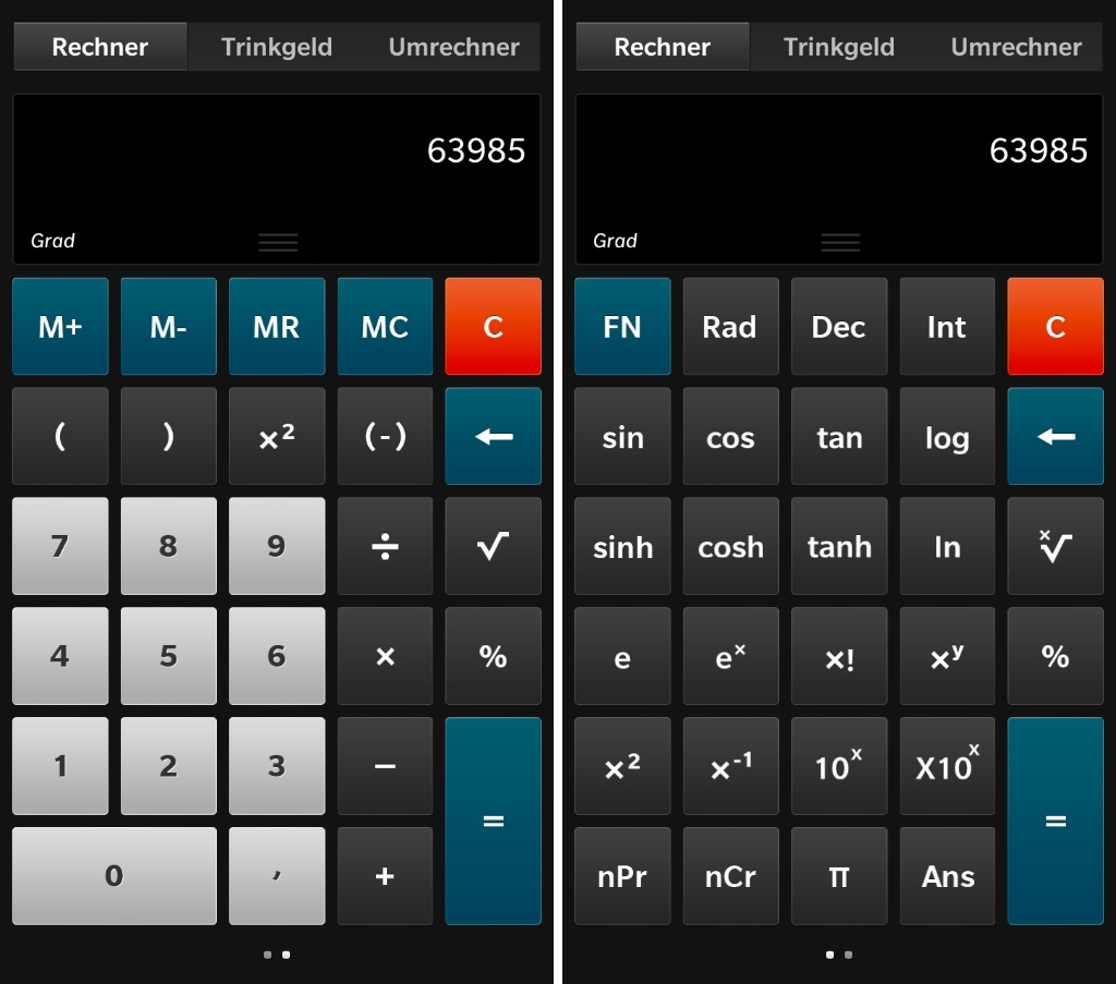 BlackBerry 10 Rechner Layouts
