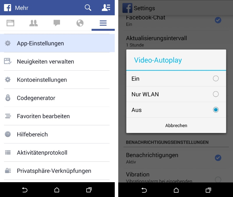 Video-Autoplay in der Facebook Android-App abschalten