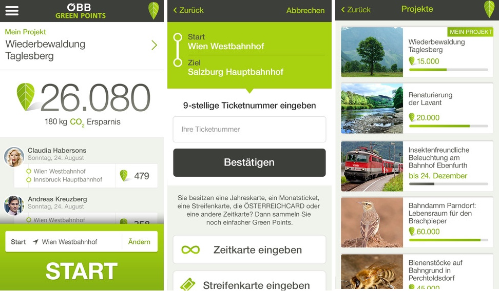 ÖBB Green Points Smartphone-App