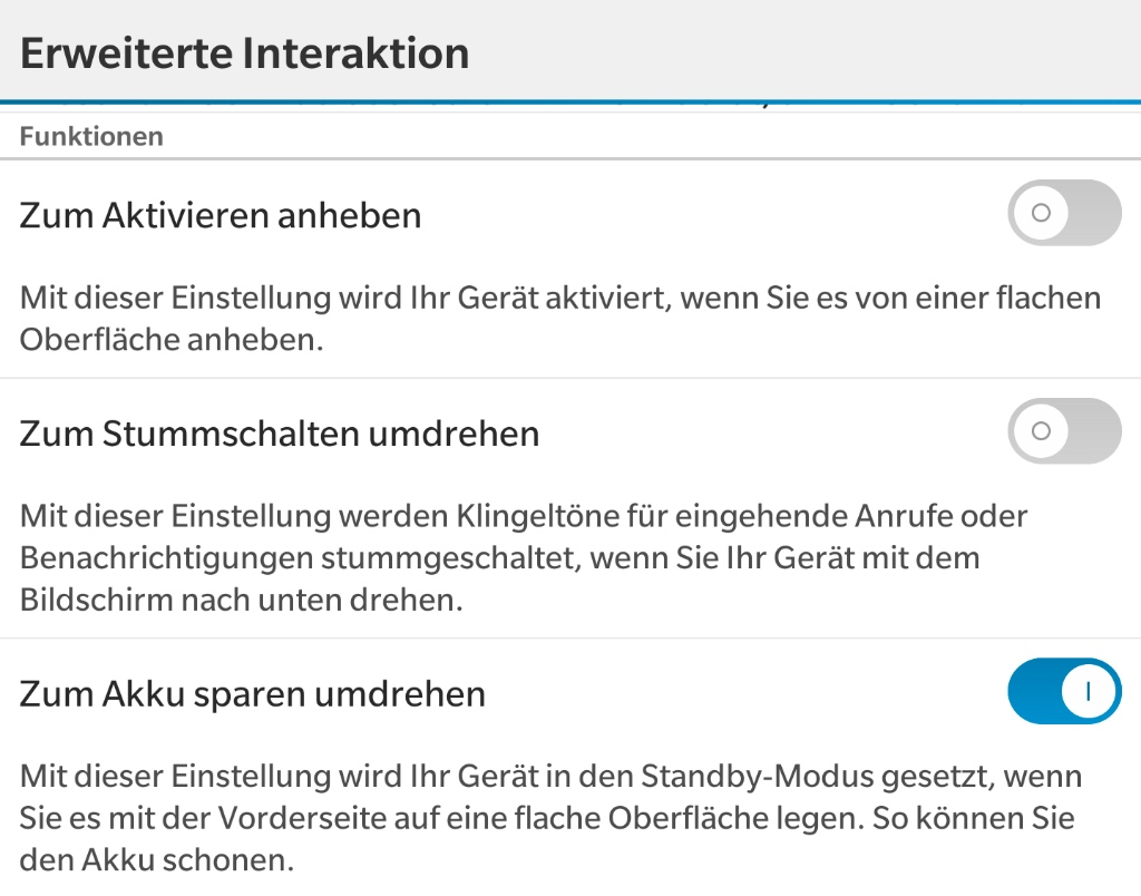 BlackBerry 10.3 - Erweiterte Interaktion in den Einstellungen