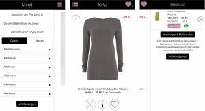 Screenshots der Fashion-App Swipy