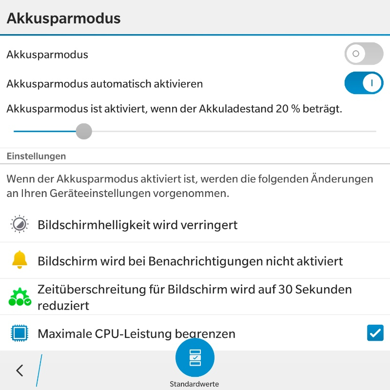 BlackBerry 10.3 Akkusparmodus