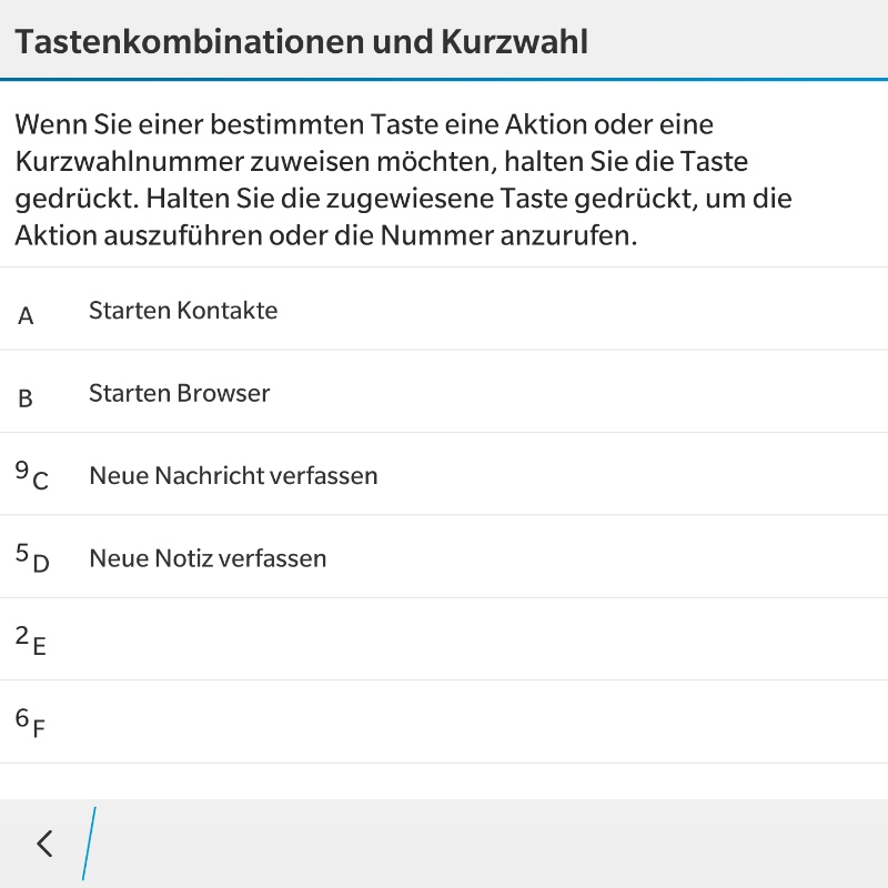 BlackBerry 10.3.1 - Tastenkombinationen & Kurzwahl