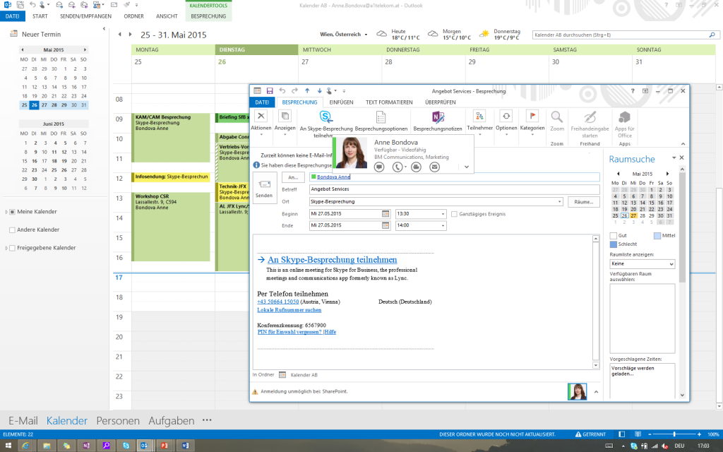 Skype for Business Outlook