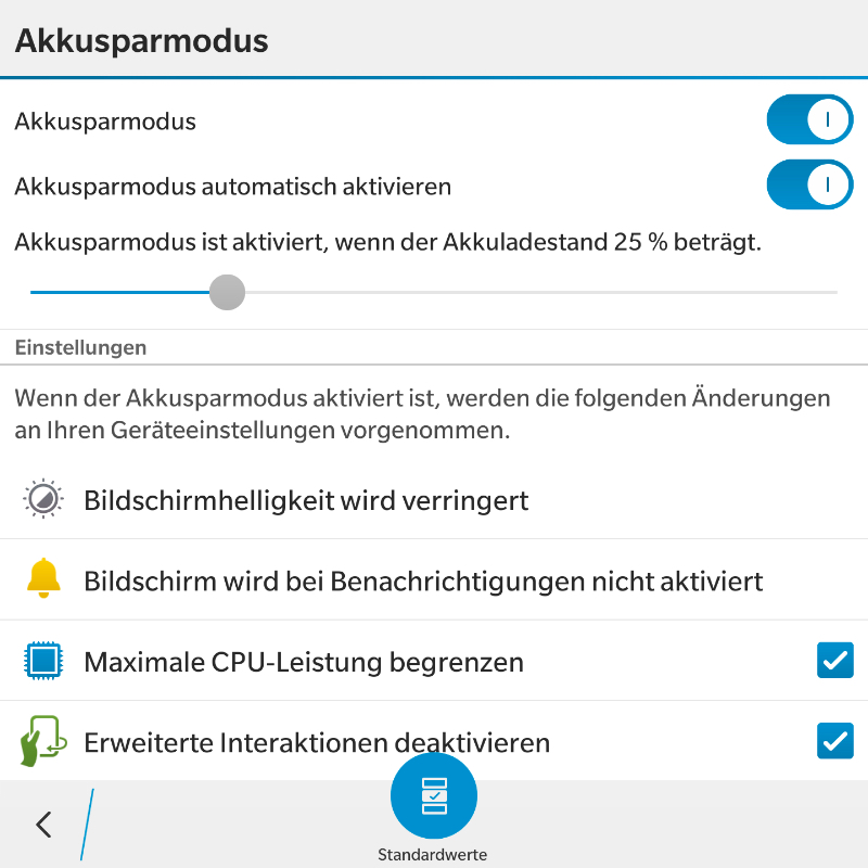 BlackBerry 10.3.1 Akkusparmodus