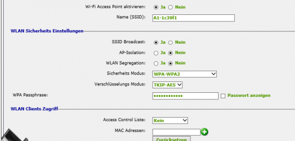 A1 Wlan Access Point Kanal aendern