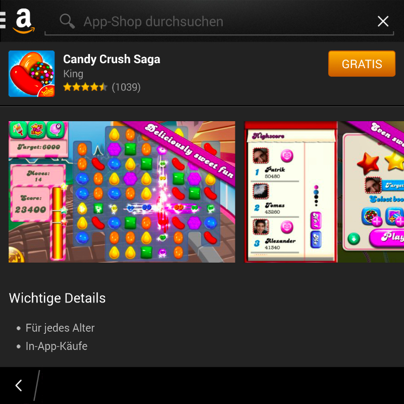 Candy Crush Saga - Amazon Android App-Dhop für BlackBerry