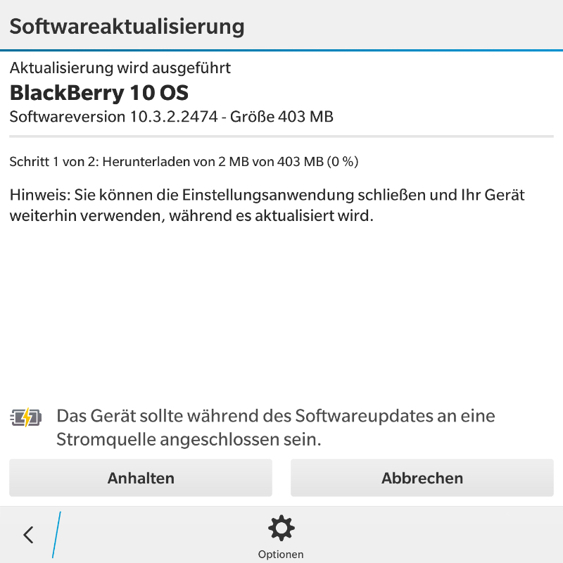 Update auf BlackBerry 10.3.2