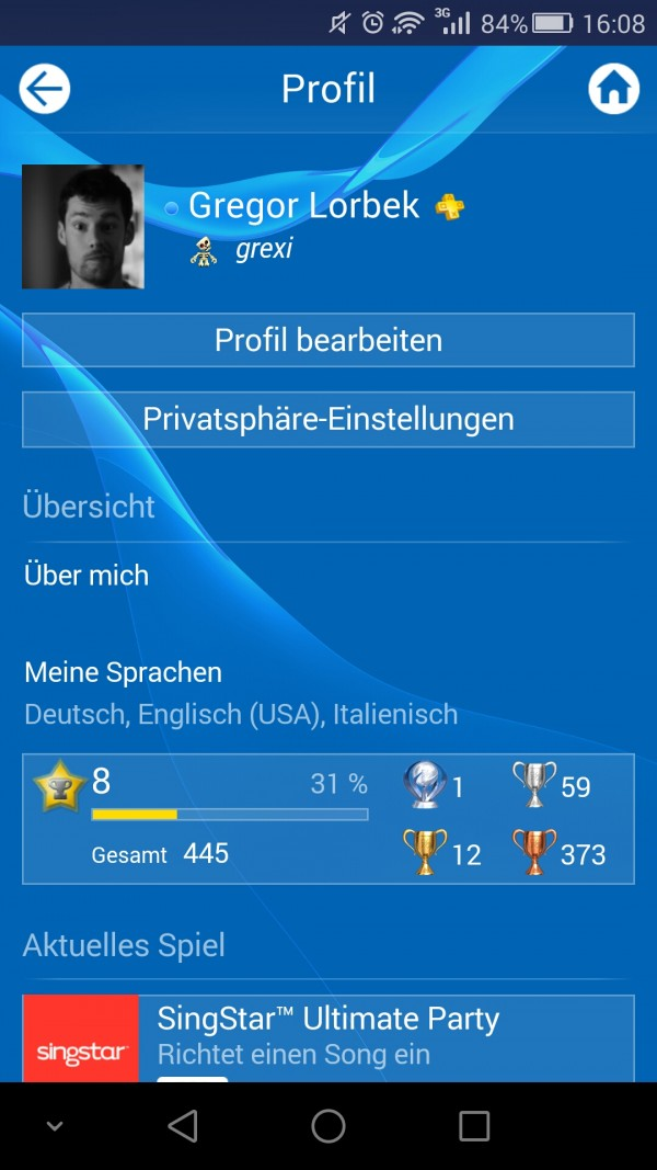 Playstation App Profil