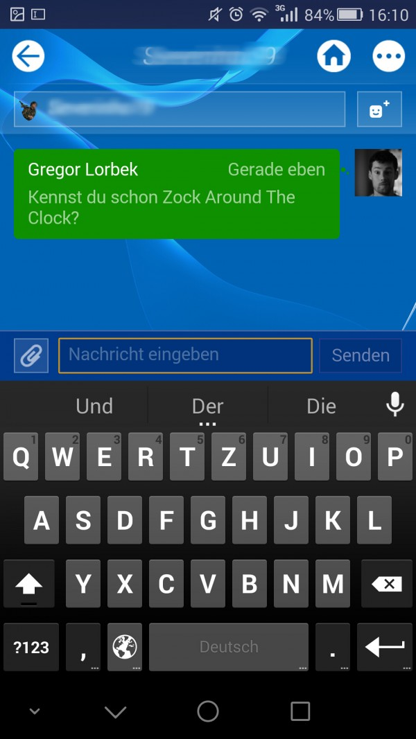 Playstation App Chat