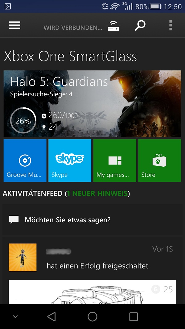 Xbox One Smartglass Dashboard