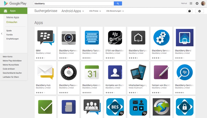 BlackBerry PRIV Apps im Google Play Store