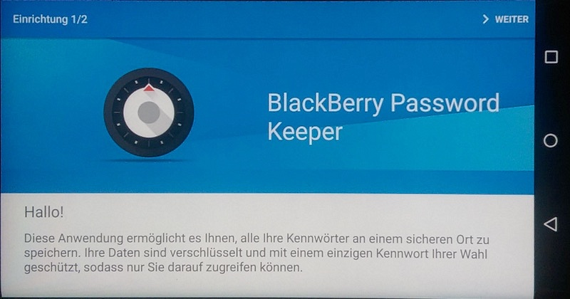 BlackBerry Password Keeper am PRIV Android-Smartphone