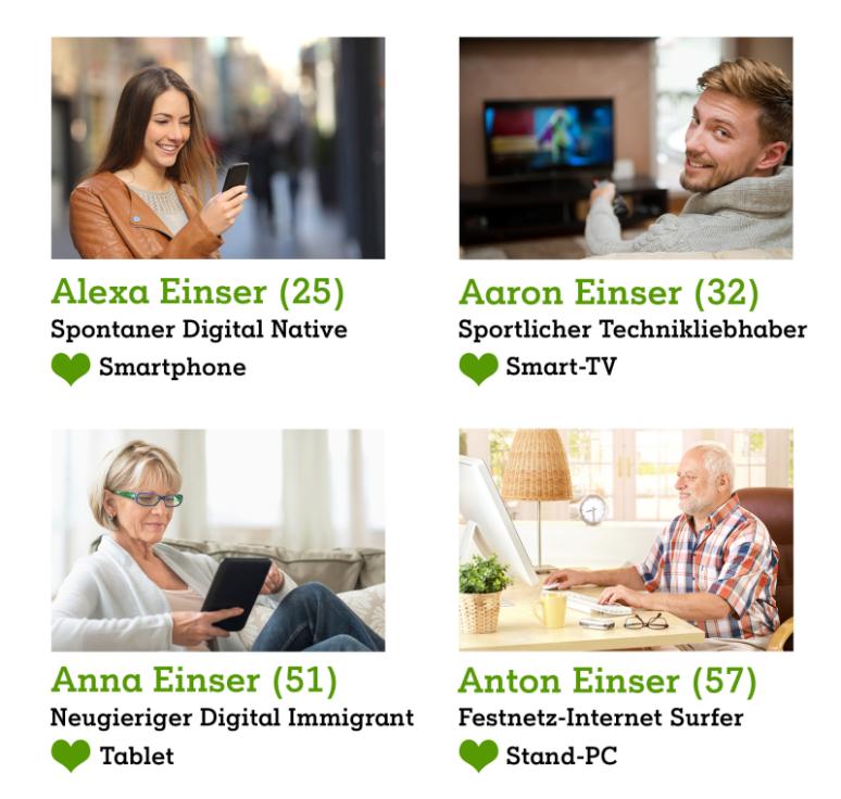 Familie mit unterschiedlichem Surfverhalten am Smartphone und Tablet und PC