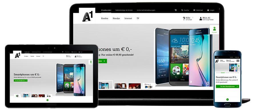A1 net Website passt sich der Bildschirmgröße bei Smartphone Tablet und PC an