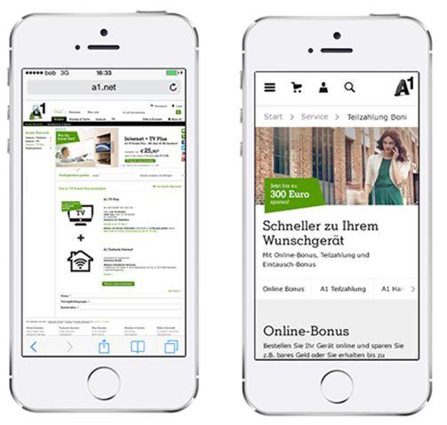 A1.net ist jetzt auf für das Smartphone optimiert