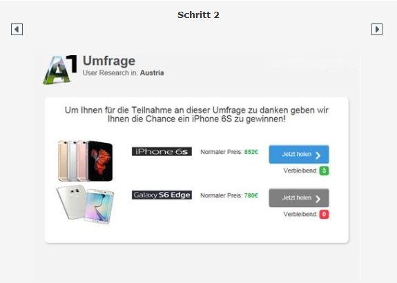 Vorsicht vor gefälschten A1 Umfragen mit iPhone 6s Gewinnspiel