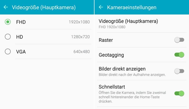 Samsung Galaxy A3 Einstellungen Kamera