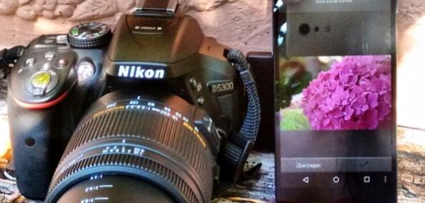 Nikom Spiegelreflex Kamera mit Smartphone als externer Fernauslöser mit Live View Funktion