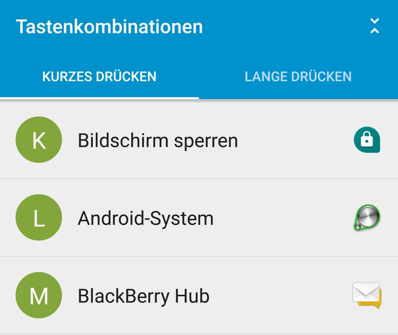 BlackBerry PRIV: Tastenkombinationen definieren