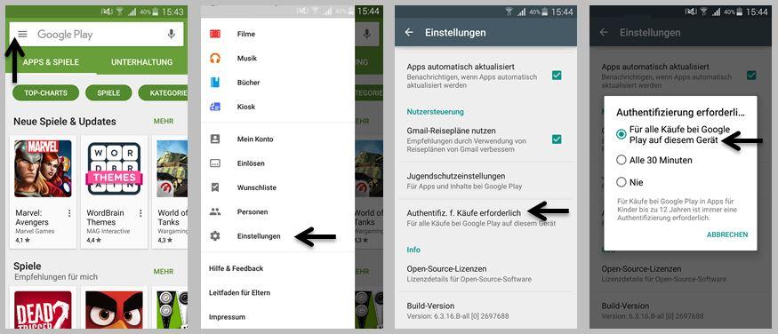 Google Play Store In App Käufe am Smartphone bei den Einstellungen deaktivieren