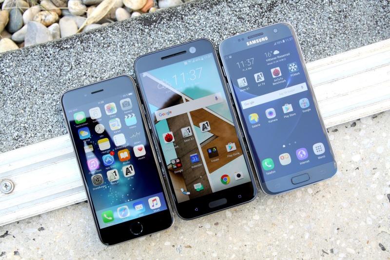 Vergleich HTC 10 Galaxy S7 iPhone 6s