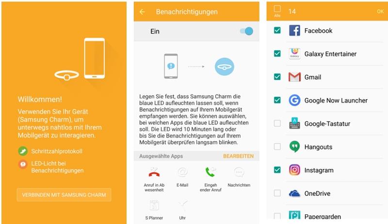 Samsung Charm per Smartphone App verbinden und Notifications einschalten