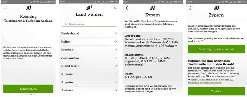 Roaming Info mein A1 App