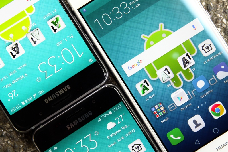 Vergleich Display Samsung A3 A5 P9lite