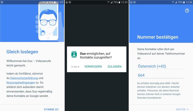 Google Duo Registrierung