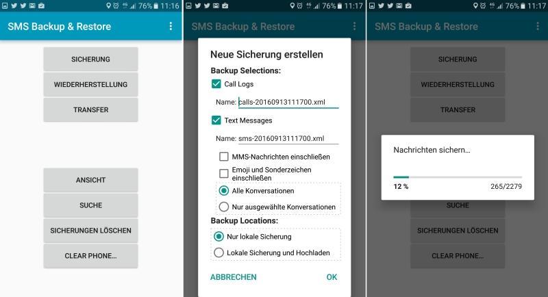Android SMS sichern