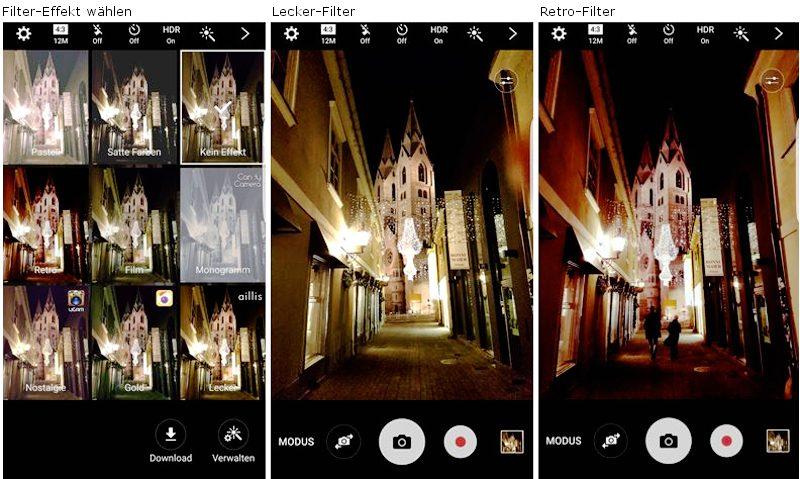 Samsung Galaxy S7 edge Kameraeinstellung und Filter bei Nacht für bessere Fotos